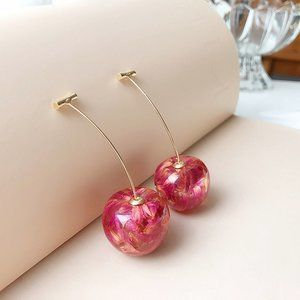 Cherry Earrings Drop Dangle Pink Red NEW